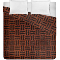 Woven1 Black Marble & Reddish Brown Leather Duvet Cover Double Side (king Size) by trendistuff