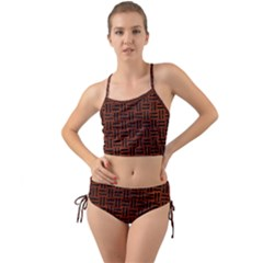Woven1 Black Marble & Reddish Brown Leather Mini Tank Bikini Set