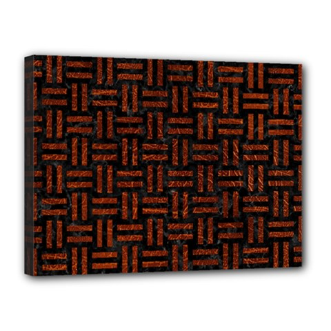 Woven1 Black Marble & Reddish Brown Leather (r) Canvas 16  X 12  by trendistuff