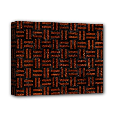 Woven1 Black Marble & Reddish Brown Leather (r) Deluxe Canvas 14  X 11  by trendistuff