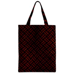 Woven2 Black Marble & Reddish Brown Leather (r) Zipper Classic Tote Bag by trendistuff