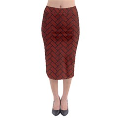 Brick2 Black Marble & Reddish Brown Wood Midi Pencil Skirt by trendistuff