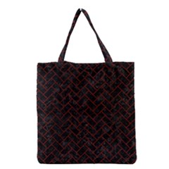 Brick2 Black Marble & Reddish Brown Wood (r) Grocery Tote Bag by trendistuff