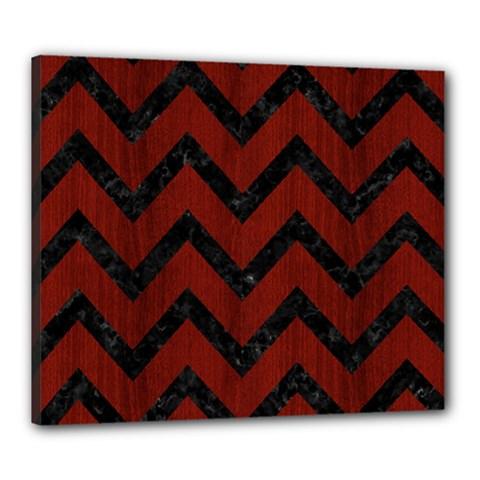 Chevron9 Black Marble & Reddish Brown Wood Canvas 24  X 20