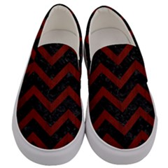 Chevron9 Black Marble & Reddish Brown Wood (r) Men s Canvas Slip Ons