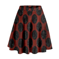 Circles2 Black Marble & Reddish Brown Wood High Waist Skirt by trendistuff