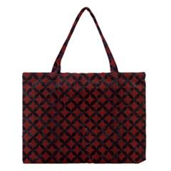 Circles3 Black Marble & Reddish Brown Wood Medium Tote Bag by trendistuff
