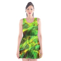 Abstract Shiny Night Lights 1 Scoop Neck Skater Dress by tarastyle