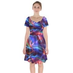 Abstract Shiny Night Lights 2 Short Sleeve Bardot Dress