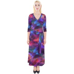 Abstract Shiny Night Lights 7 Quarter Sleeve Wrap Maxi Dress