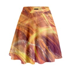 Abstract Shiny Night Lights 10 High Waist Skirt by tarastyle