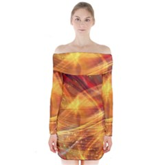 Abstract Shiny Night Lights 13 Long Sleeve Off Shoulder Dress