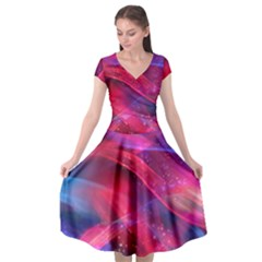 Abstract Shiny Night Lights 18 Cap Sleeve Wrap Front Dress