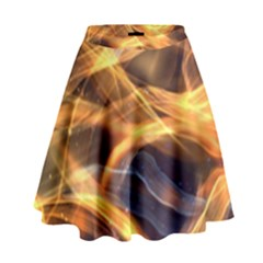 Abstract Shiny Night Lights 19 High Waist Skirt by tarastyle