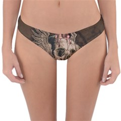 Awesome Creepy Skull With Rat And Wings Reversible Hipster Bikini Bottoms by FantasyWorld7