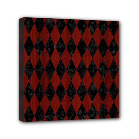 Diamond1 Black Marble & Reddish Brown Wood Mini Canvas 6  X 6  by trendistuff