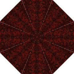 Damask2 Black Marble & Reddish Brown Wood Straight Umbrellas by trendistuff