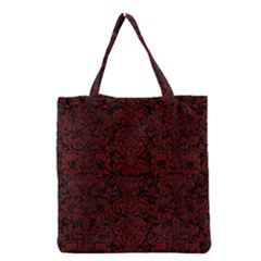 Damask2 Black Marble & Reddish Brown Wood (r) Grocery Tote Bag by trendistuff