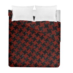 Houndstooth2 Black Marble & Reddish Brown Wood Duvet Cover Double Side (full/ Double Size) by trendistuff