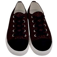 Hexagon1 Black Marble & Reddish Brown Wood (r) Men s Low Top Canvas Sneakers