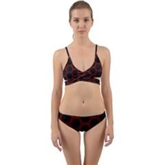 Hexagon2 Black Marble & Reddish Brown Wood (r) Wrap Around Bikini Set