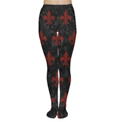 Royal1 Black Marble & Reddish Brown Wood Women s Tights by trendistuff