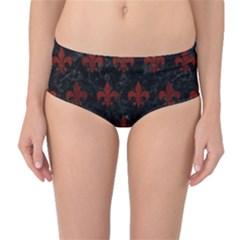 Royal1 Black Marble & Reddish Brown Wood Mid Waist Bikini Bottoms by trendistuff