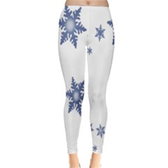 Star Snow Blue Rain Cool Classic Winter Leggings by AnjaniArt
