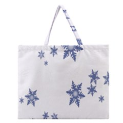 Star Snow Blue Rain Cool Zipper Large Tote Bag by AnjaniArt