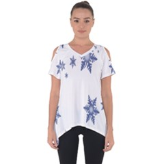 Star Snow Blue Rain Cool Cut Out Side Drop Tee by AnjaniArt