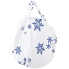 Star Snow Blue Rain Cool Giant Round Zipper Tote by AnjaniArt
