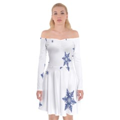 Star Snow Blue Rain Cool Off Shoulder Skater Dress by AnjaniArt