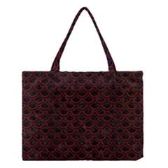 Scales2 Black Marble & Reddish Brown Wood (r) Medium Tote Bag by trendistuff