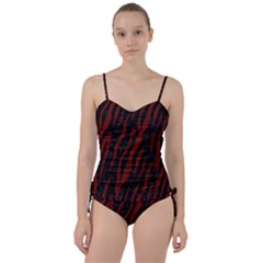 Skin3 Black Marble & Reddish Brown Wood (r) Sweetheart Tankini Set
