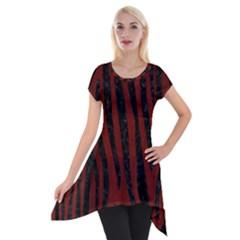 Skin4 Black Marble & Reddish Brown Wood (r) Short Sleeve Side Drop Tunic by trendistuff