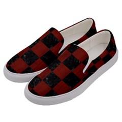 Square1 Black Marble & Reddish Brown Wood Men s Canvas Slip Ons by trendistuff