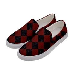 Square2 Black Marble & Reddish Brown Wood Women s Canvas Slip Ons by trendistuff