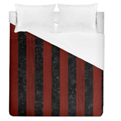 Stripes1 Black Marble & Reddish Brown Wood Duvet Cover (queen Size) by trendistuff
