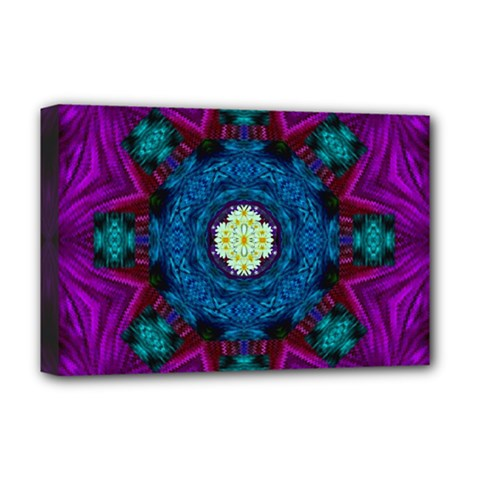 Sunshine Mandala And Fantasy Snow Floral Deluxe Canvas 18  X 12   by pepitasart