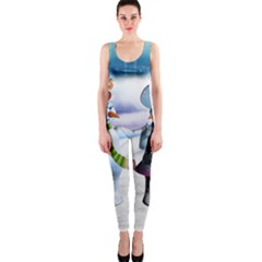Funny, Cute Snowman And Snow Women In A Winter Landscape Onepiece Catsuit by FantasyWorld7