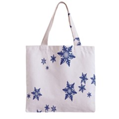 Star Snow Blue Rain Cool Zipper Grocery Tote Bag by AnjaniArt