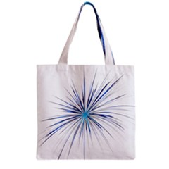Fireworks Light Blue Space Happy New Year Grocery Tote Bag by AnjaniArt