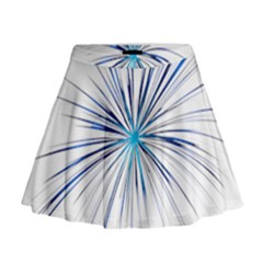 Fireworks Light Blue Space Happy New Year Mini Flare Skirt by AnjaniArt