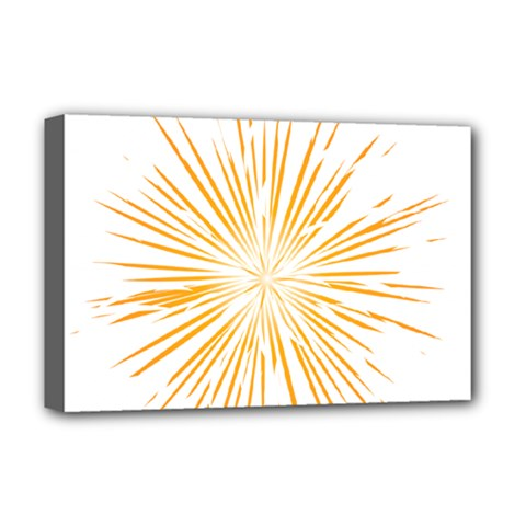 Fireworks Light Yellow Space Happy New Year Deluxe Canvas 18  X 12   by AnjaniArt
