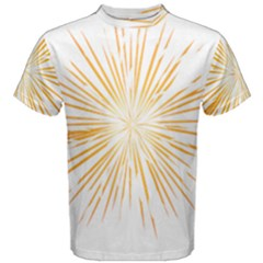 Fireworks Light Yellow Space Happy New Year Men s Cotton Tee by AnjaniArt