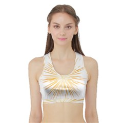 Fireworks Light Yellow Space Happy New Year Sports Bra With Border by AnjaniArt