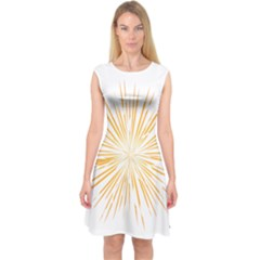 Fireworks Light Yellow Space Happy New Year Capsleeve Midi Dress