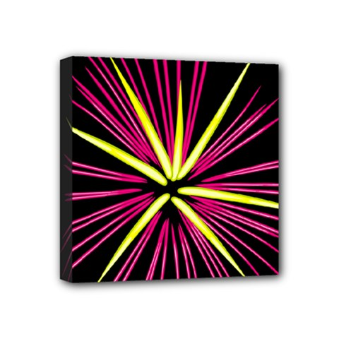 Fireworks Pink Red Yellow Black Sky Happy New Year Mini Canvas 4  X 4  by AnjaniArt