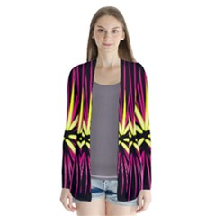 Fireworks Pink Red Yellow Black Sky Happy New Year Drape Collar Cardigan