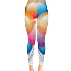 Birthday Happy New Year Balloons Rainbow Leggings  by AnjaniArt